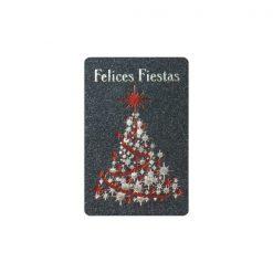 Etiqueta adhesiva Felices Fiestas con árbol de navidad decorado