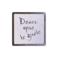 Pegatina Deseo que te guste en plata de 35x35 mm
