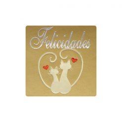Felicidades pegatina en oro pareja de gatos enamorados