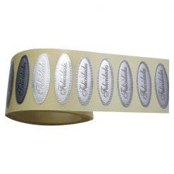 etiqueta ovalada plata