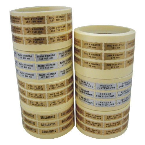 Etiquetas adhesiva joyería en oro y plata