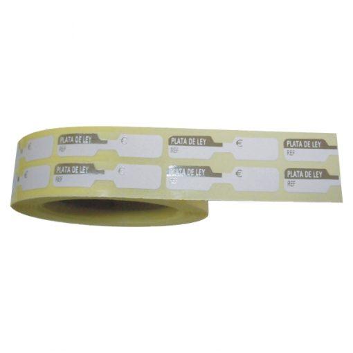 Rollo etiqueta adhesiva plata ley 8X38 mm.