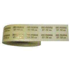 Adhesiva trasparente oro ley 9X20 mm.